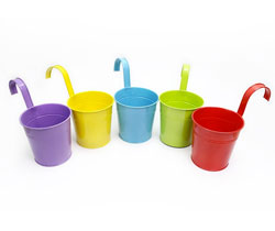 5 Colored Flower Pots Set