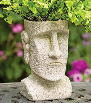 Stone Easter Island Head Planter