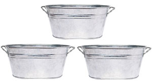 Galvanized Oval Planters - Set of 3