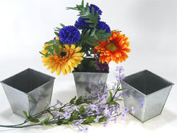 Galvanized Metal Planters - Square Shape, Set of 3
