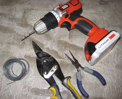 Tools to Make a Hanging Planter: Drill, Pliers, Wire Cutters, Wire
